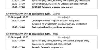 TYGODNIOWY HARMONOGRAM ZAJĘĆ KLUBU SENIOR+ W MIKSTACIE W terminie 12.10 – 18.10.2019r.