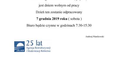 Kierownik Biura Powiatowego ARiMR w Ostrzeszowie Informuje