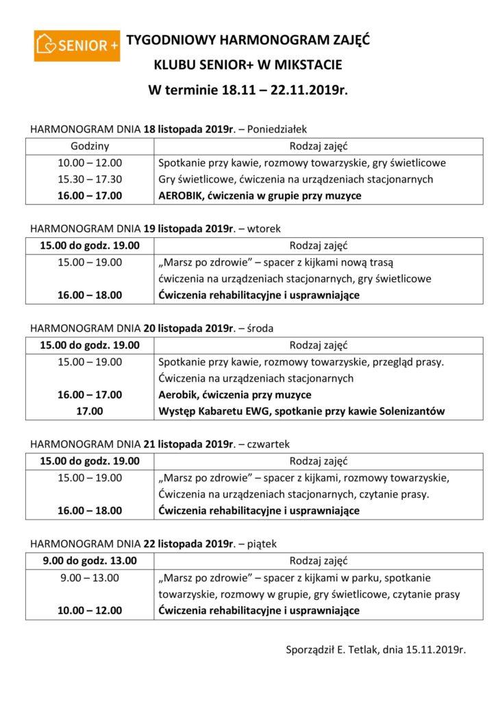 TYGODNIOWY HARMONOGRAM ZAJĘĆ KLUBU SENIOR+ W MIKSTACIE W terminie 18.11 – 22.11.2019 r.