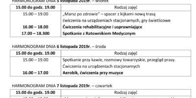 TYGODNIOWY HARMONOGRAM ZAJĘĆ KLUBU SENIOR+ W MIKSTACIE W terminie 4.11 – 8.11.2019 r.