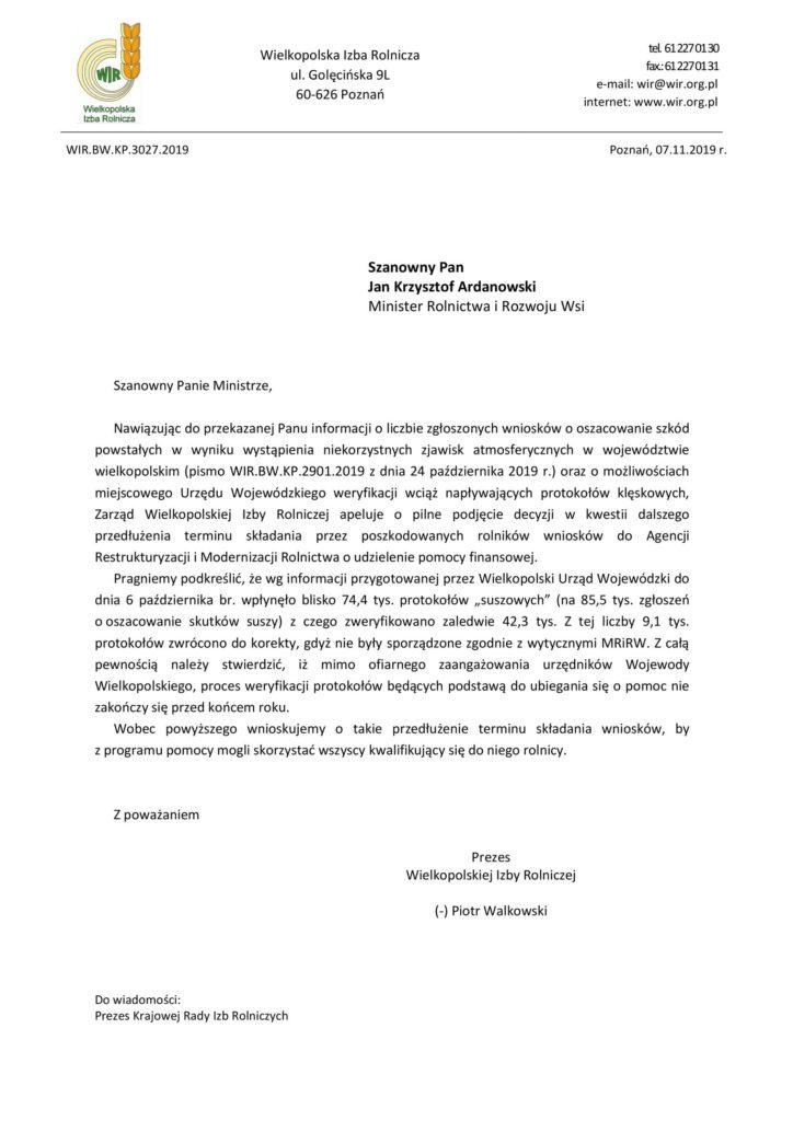Pismo Wielkopolskiej Izby Rolniczej w Poznaniu