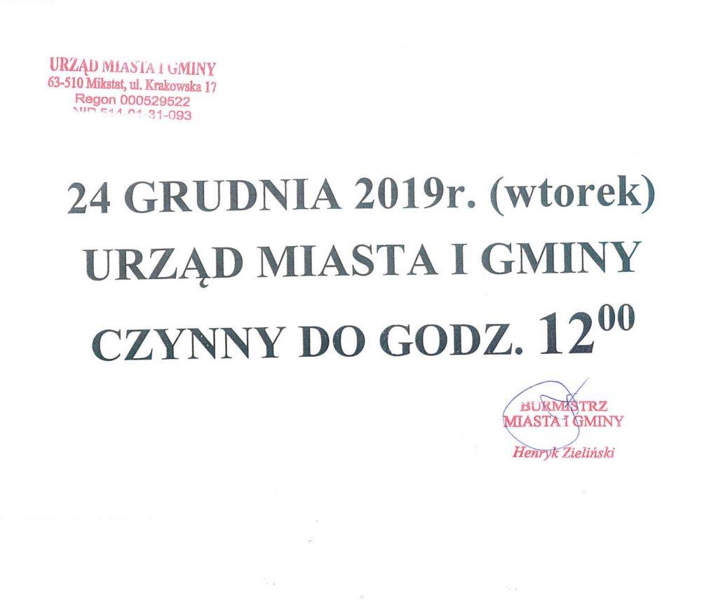 24 grudnia 2019 r. (wtorek) Urząd Miasta i Gminy czynny do godz. 12:00