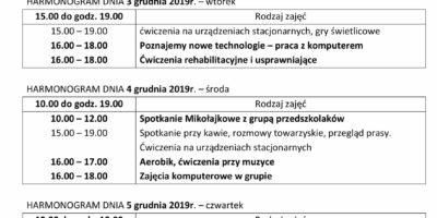 TYGODNIOWY HARMONOGRAM ZAJĘĆ KLUBU SENIOR+ W MIKSTACIE W terminie 2.12 – 6.12.2019r.
