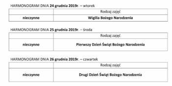 TYGODNIOWY HARMONOGRAM ZAJĘĆ KLUBU SENIOR+ W MIKSTACIE W terminie 23.12 – 27.12.2019r.