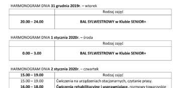 TYGODNIOWY HARMONOGRAM ZAJĘĆ KLUBU SENIOR+ W MIKSTACIE W terminie 30.12.2019 – 03.01.2020r.