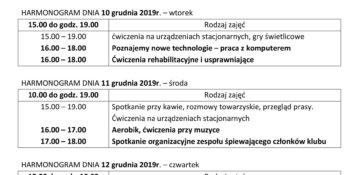 TYGODNIOWY HARMONOGRAM ZAJĘĆ KLUBU SENIOR+ W MIKSTACIE w terminie 9.12 – 13.12.2019 r.