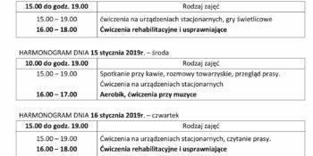 TYGODNIOWY HARMONOGRAM ZAJĘĆ KLUBU SENIOR+ W MIKSTACIE W terminie 13.01 – 17.01.2020r.