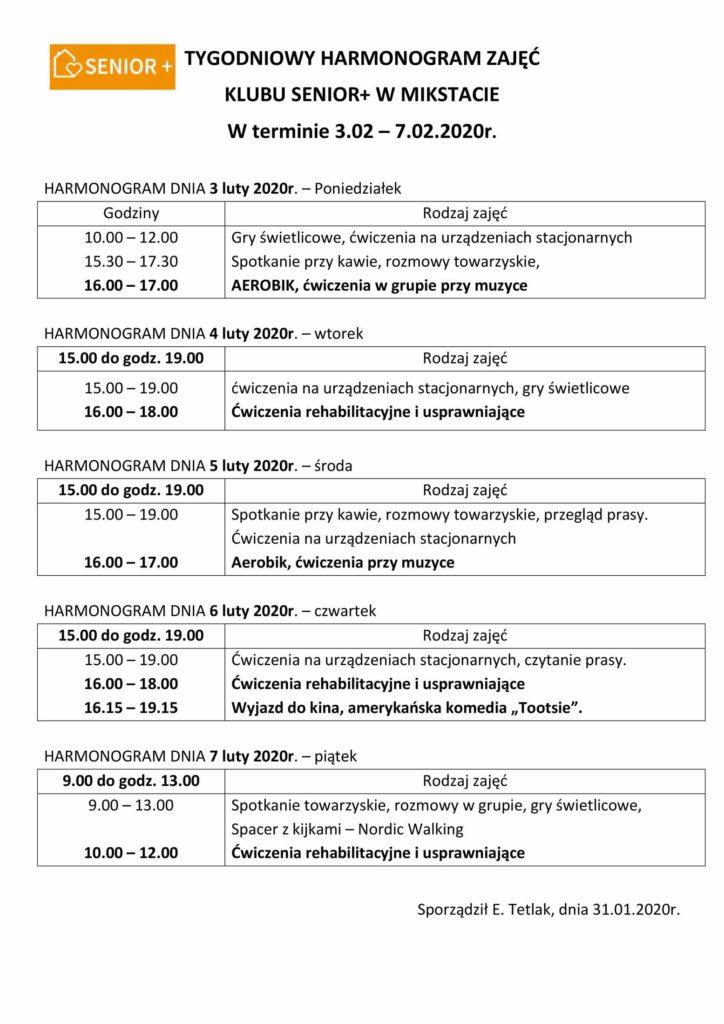 TYGODNIOWY HARMONOGRAM ZAJĘĆ KLUBU SENIOR+ W MIKSTACIE W terminie 3.02 – 7.02.2020 r.