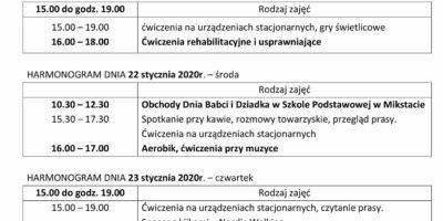 TYGODNIOWY HARMONOGRAM ZAJĘĆ KLUBU SENIOR+ W MIKSTACIE W terminie 20.01 – 24.01.2020 r.