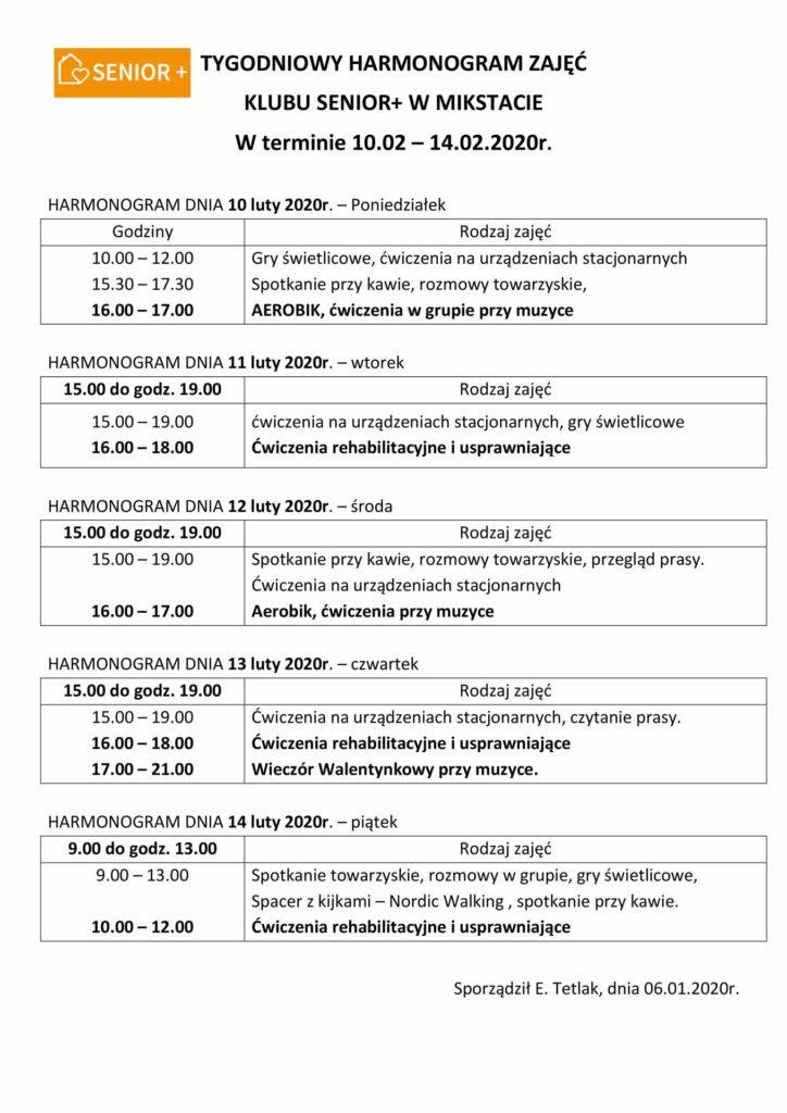 TYGODNIOWY HARMONOGRAM ZAJĘĆ KLUBU SENIOR+ W MIKSTACIE W terminie 10.02 – 14.02.2020r.